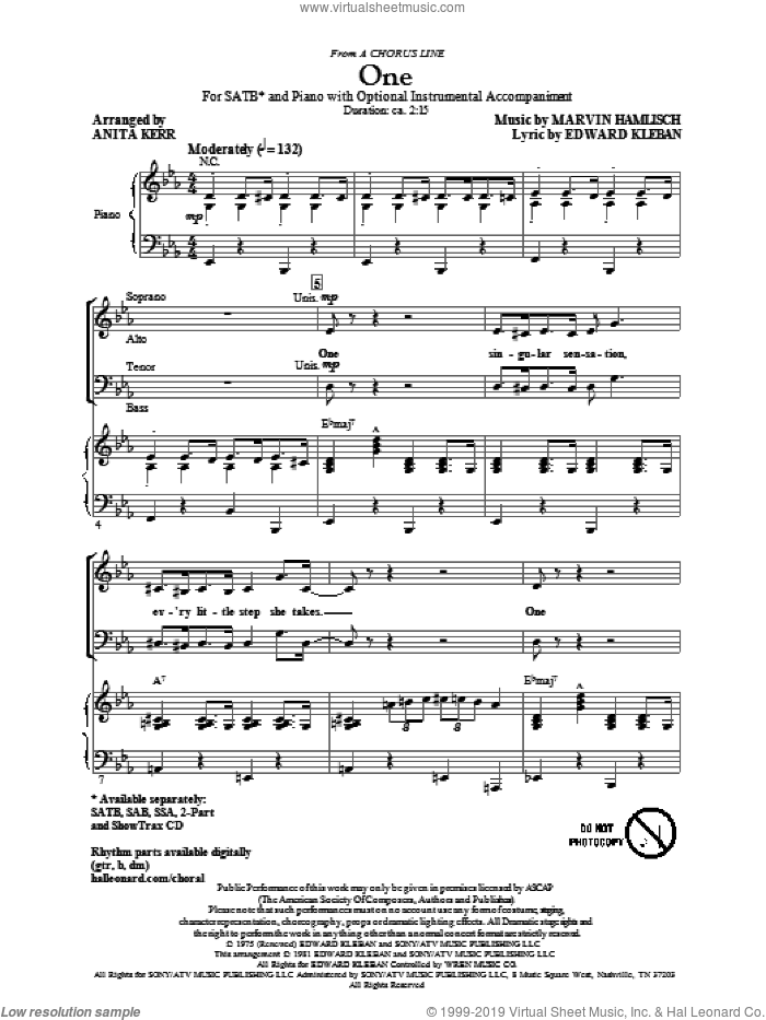 One (from A Chorus Line) sheet music for choir and piano (SATB) by Edward Kleban