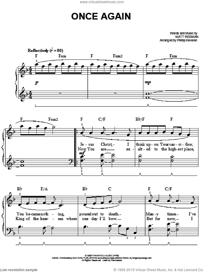 Once Again sheet music for piano solo by Matt Redman and Phillip Keveren, easy skill level