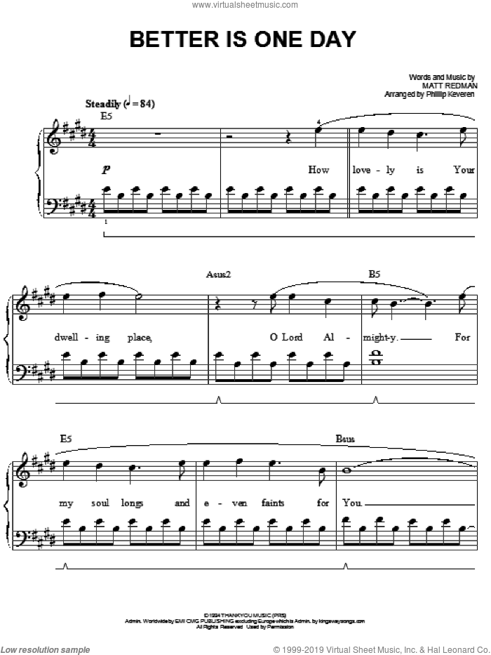 Better Is One Day sheet music for piano solo by Matt Redman and Phillip Keveren, easy. Score Image Preview.