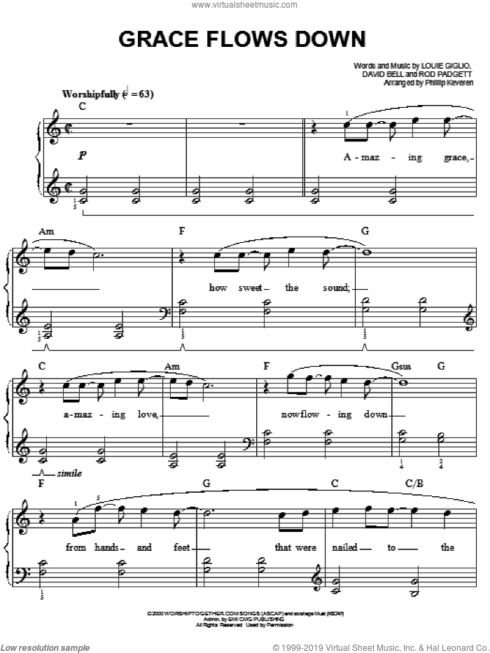 Grace Flows Down sheet music for piano solo by Passion Band and Phillip Keveren. Score Image Preview.