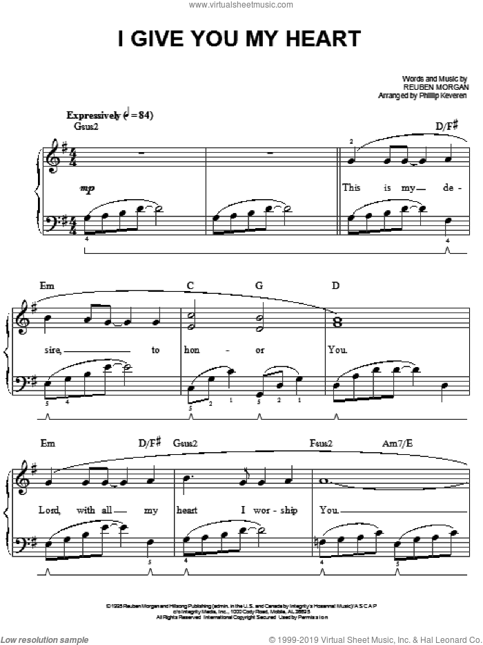 I Give You My Heart sheet music for piano solo by Reuben Morgan, Phillip Keveren, Jeff Deyo and The Katinas, easy skill level