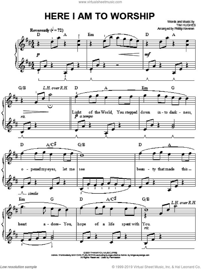 Here I Am To Worship sheet music for piano solo by Phillips, Craig & Dean, Phillip Keveren and Tim Hughes, easy skill level