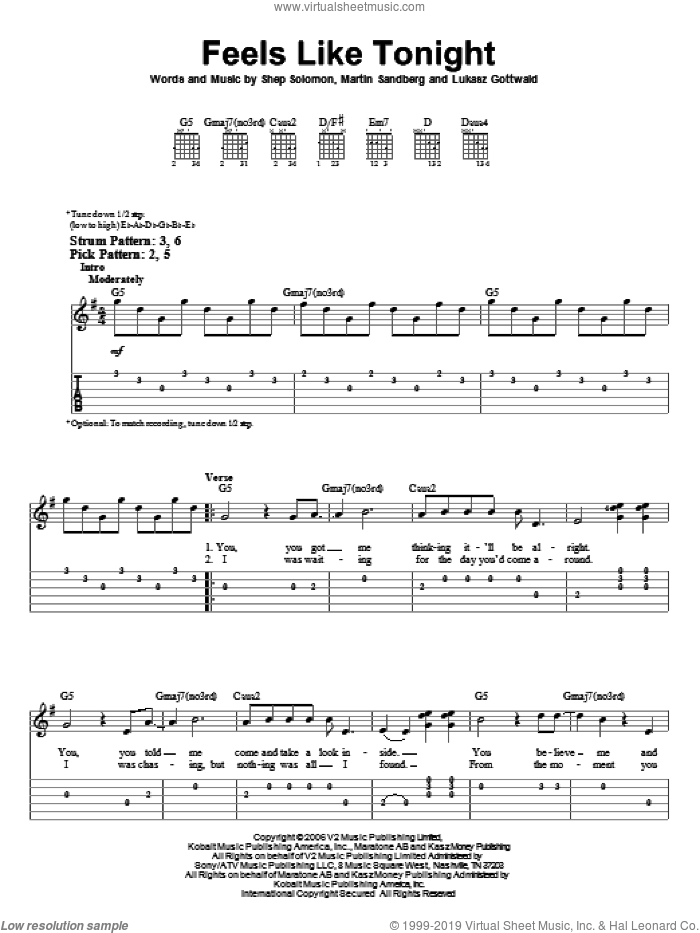 Feels Like Tonight sheet music for guitar solo (easy tablature) by Sheppard Solomon, Daughtry, Lukasz Gottwald and Martin Sandberg