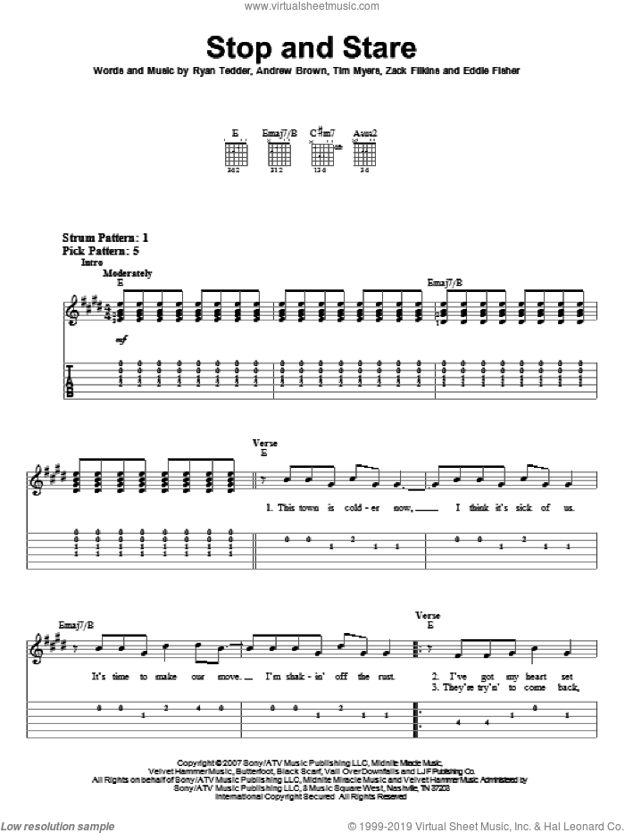 Stop And Stare sheet music for guitar solo (easy tablature) by Zack Filkins, OneRepublic, Andrew Brown, Eddie Fisher, Ryan Tedder and Tim Myers. Score Image Preview.