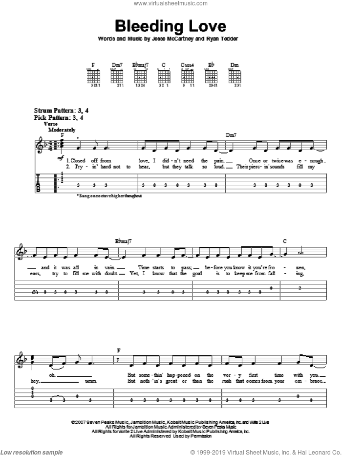 Bleeding Love sheet music for guitar solo (easy tablature) by Leona Lewis, Jesse McCartney and Ryan Tedder, easy guitar (easy tablature)