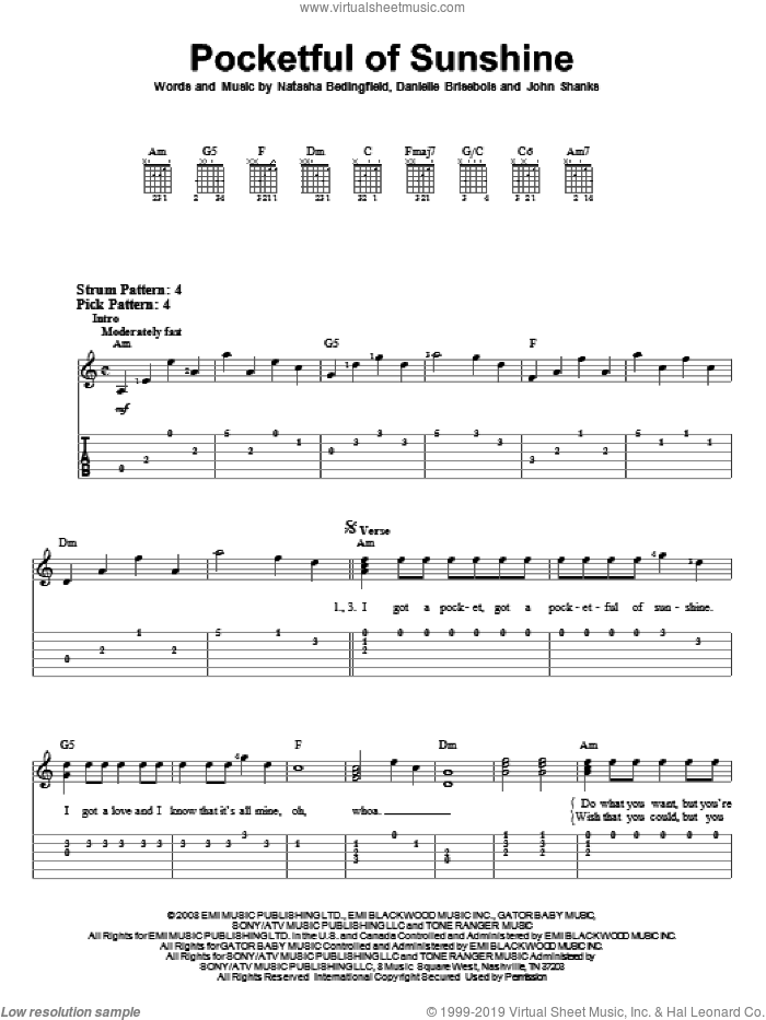 Pocketful Of Sunshine sheet music for guitar solo (easy tablature) by Natasha Bedingfield and John Shanks, easy guitar (easy tablature). Score Image Preview.