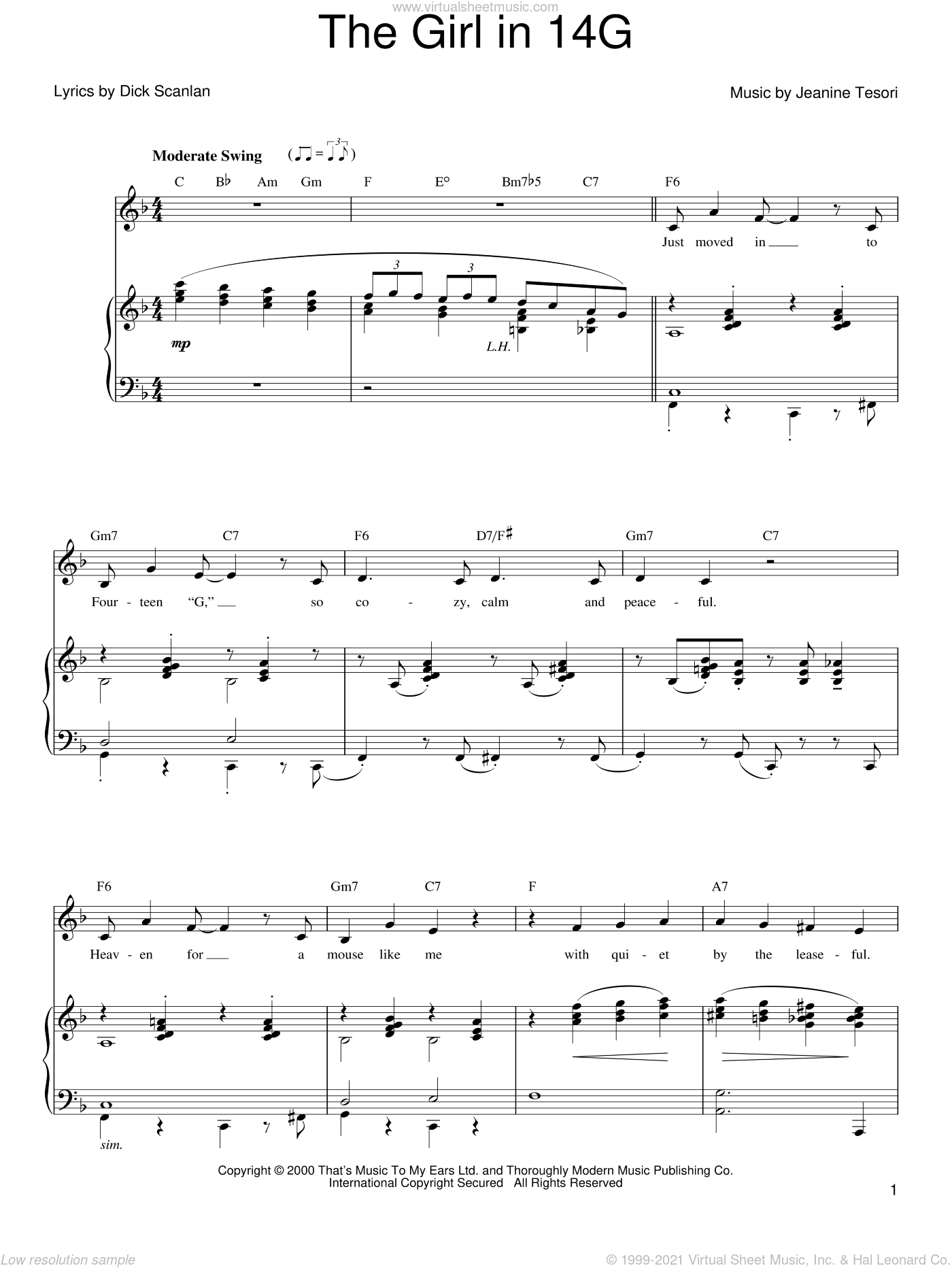 The Girl In 14G sheet music for voice, piano or guitar by Kristin Chenoweth, Dick Scanlan and Jeanine Tesori, intermediate skill level
