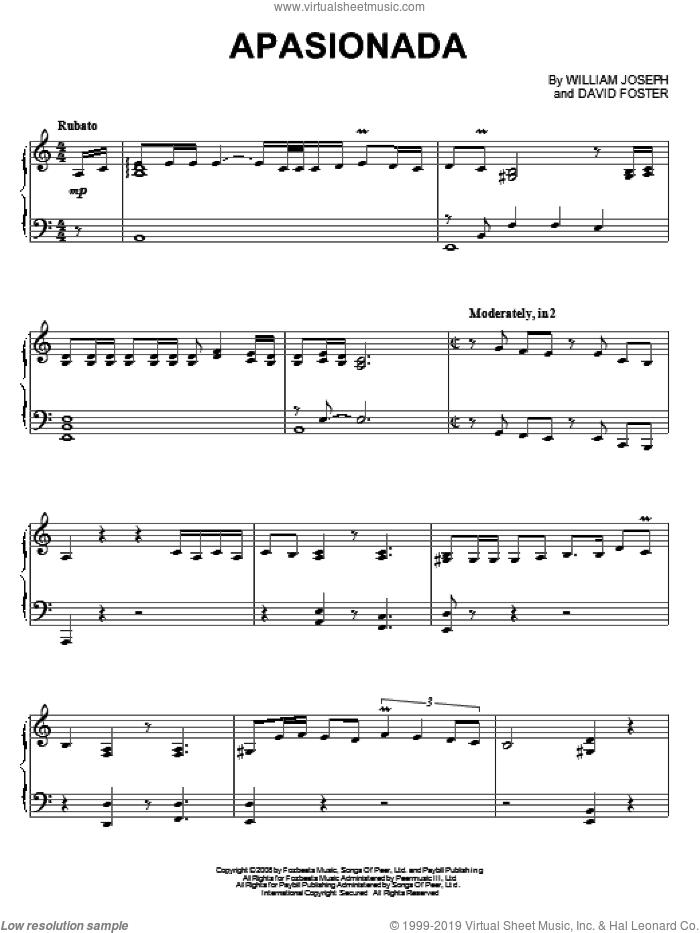 Apasionada sheet music for piano solo by William Joseph and David Foster, intermediate skill level