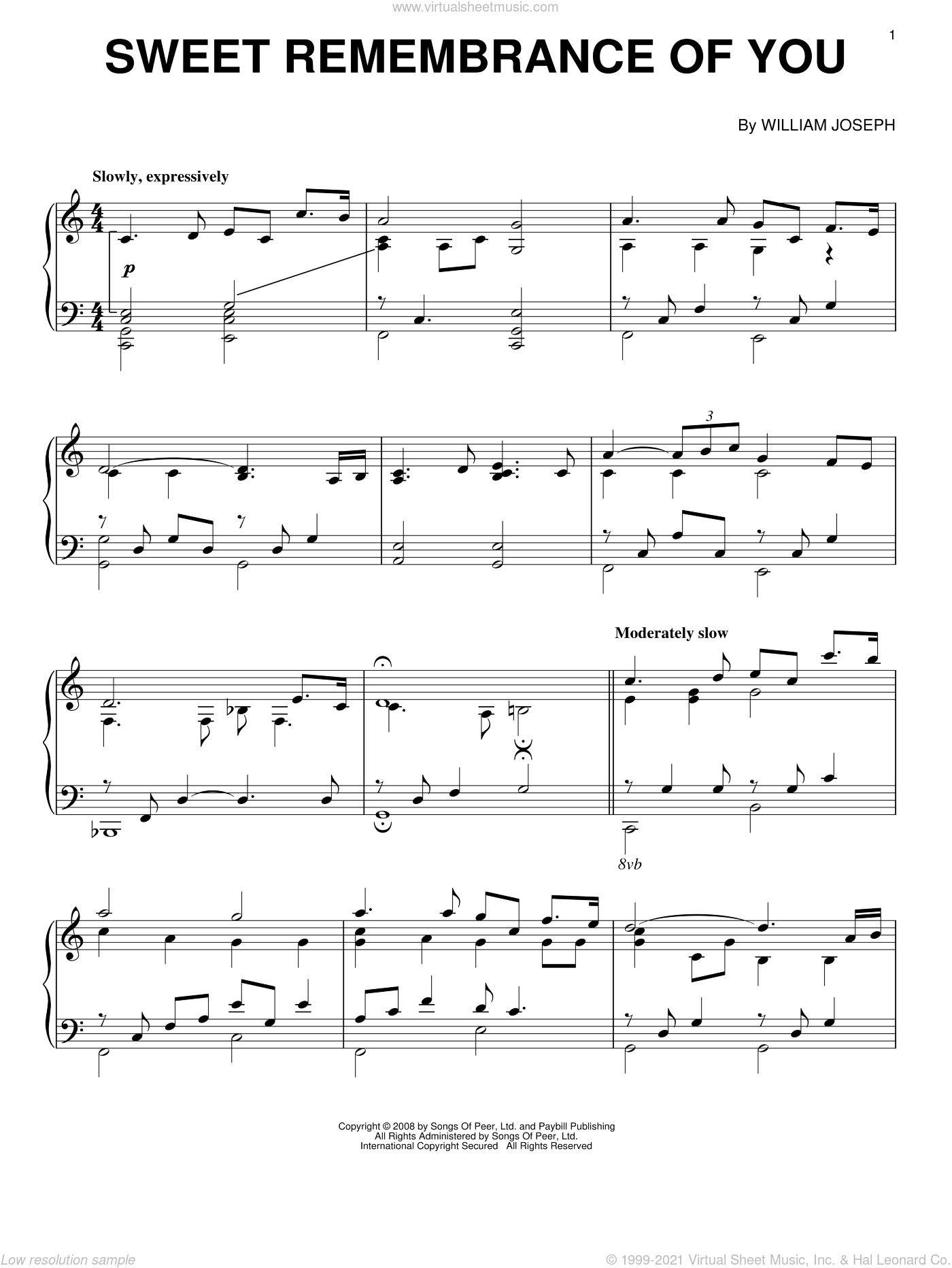 Sweet Remembrance Of You sheet music for piano solo by William Joseph. Score Image Preview.