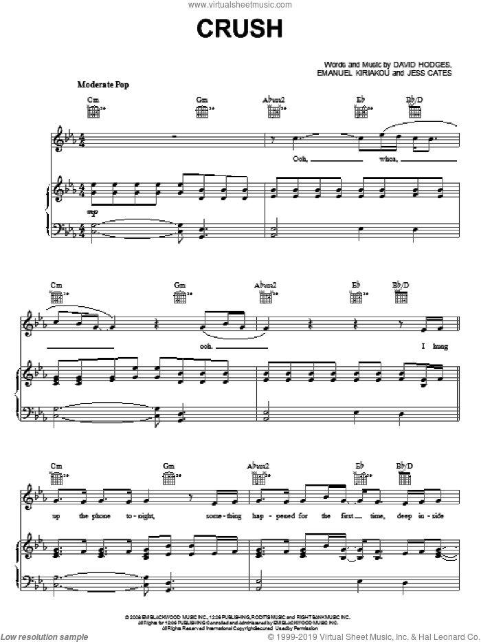 Crush sheet music for voice, piano or guitar by David Archuleta, American Idol, David Hodges, Emanual Kiriakou and Jess Cates, intermediate skill level