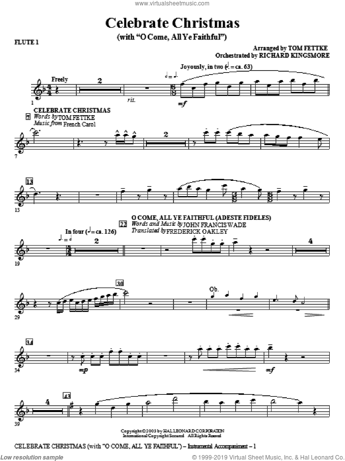 Celebrate Christmas (with O Come, All Ye Faithful) sheet music for orchestra/band (flute 1)