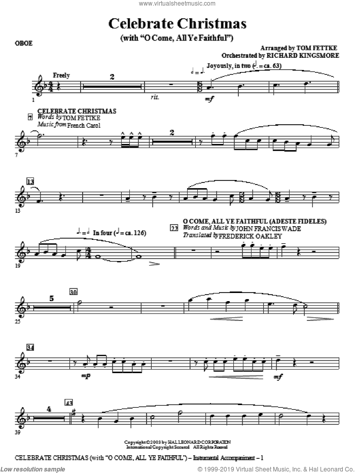 Celebrate Christmas (with O Come, All Ye Faithful) sheet music for orchestra/band (oboe)