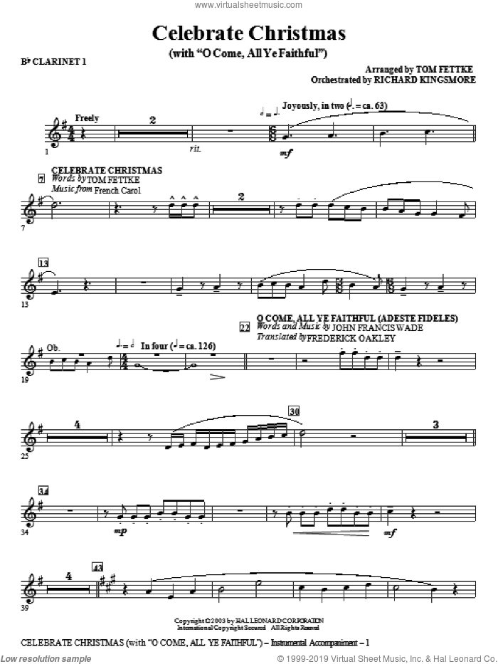 Celebrate Christmas (with O Come, All Ye Faithful) sheet music for orchestra/band (Bb clarinet 1)