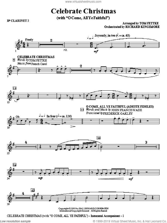 Celebrate Christmas (with O Come, All Ye Faithful) sheet music for orchestra/band (Bb clarinet 2)