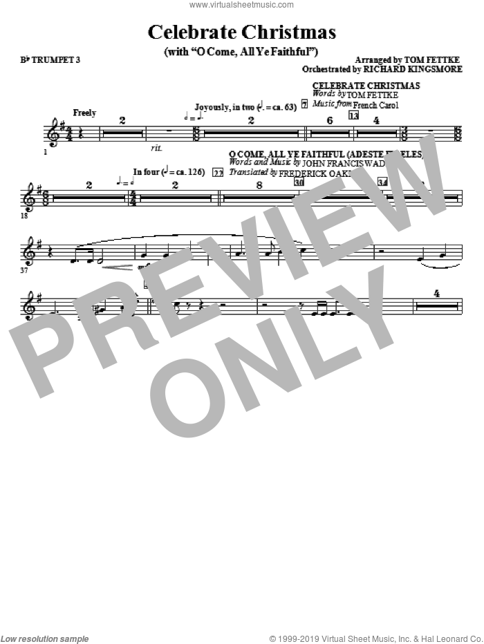 Celebrate Christmas (with O Come, All Ye Faithful) sheet music for orchestra/band (Bb trumpet 3)