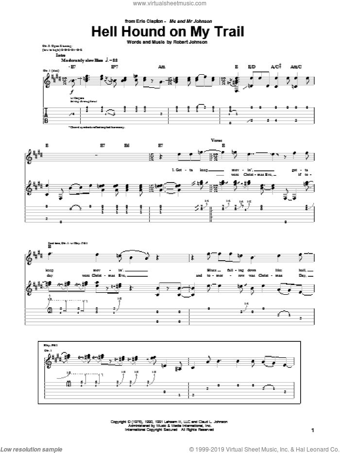Hell Hound On My Trail sheet music for guitar (tablature) by Eric Clapton and Robert Johnson. Score Image Preview.