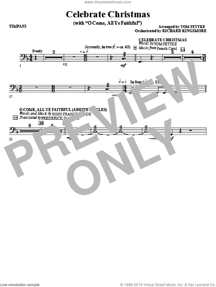 Celebrate Christmas (with O Come, All Ye Faithful) sheet music for orchestra/band (timpani)