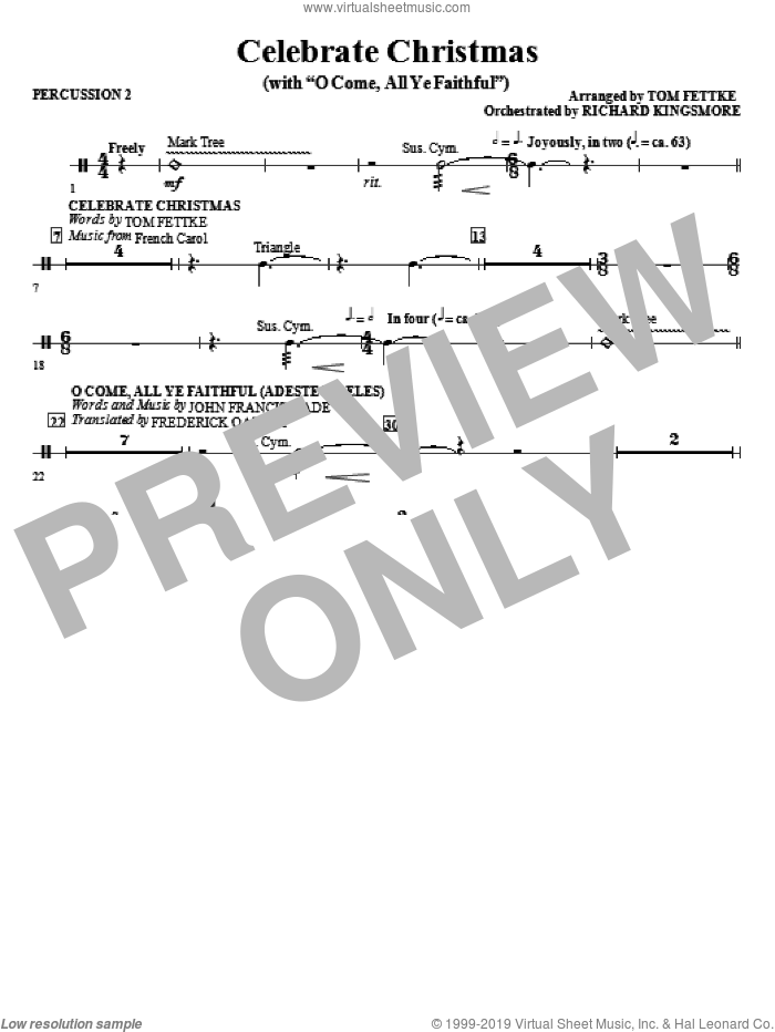 Celebrate Christmas (with O Come, All Ye Faithful) sheet music for orchestra/band (percussion 2)
