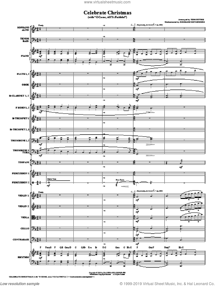 Celebrate Christmas (with O Come, All Ye Faithful) (COMPLETE) sheet music for orchestra/band (Orchestra) by Tom Fettke and Miscellaneous, intermediate. Score Image Preview.