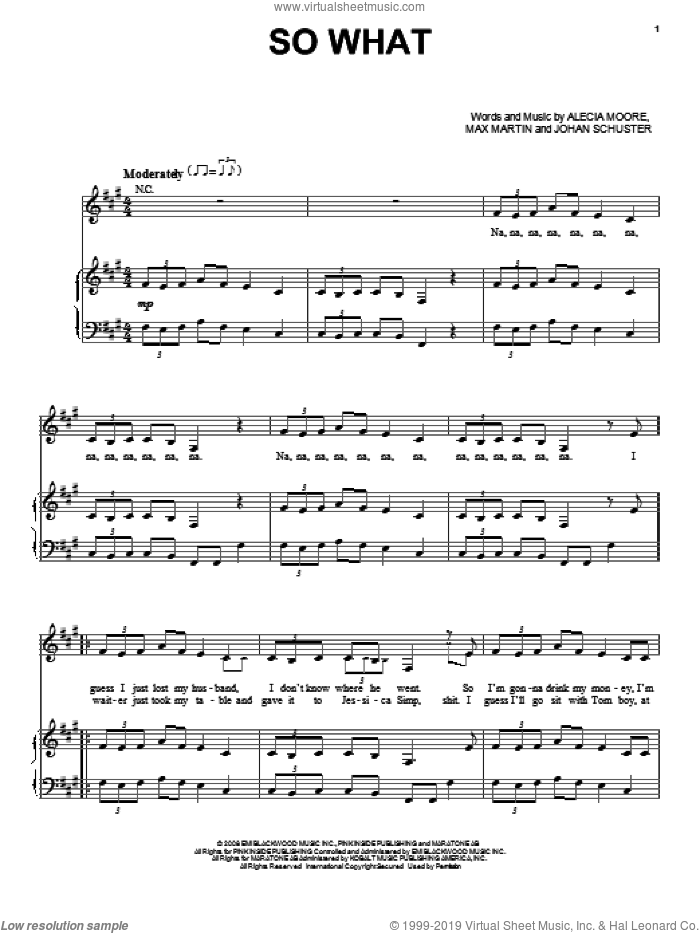 So What sheet music for voice, piano or guitar by Max Martin, Miscellaneous, Alecia Moore and Johan Schuster, intermediate voice, piano or guitar. Score Image Preview.