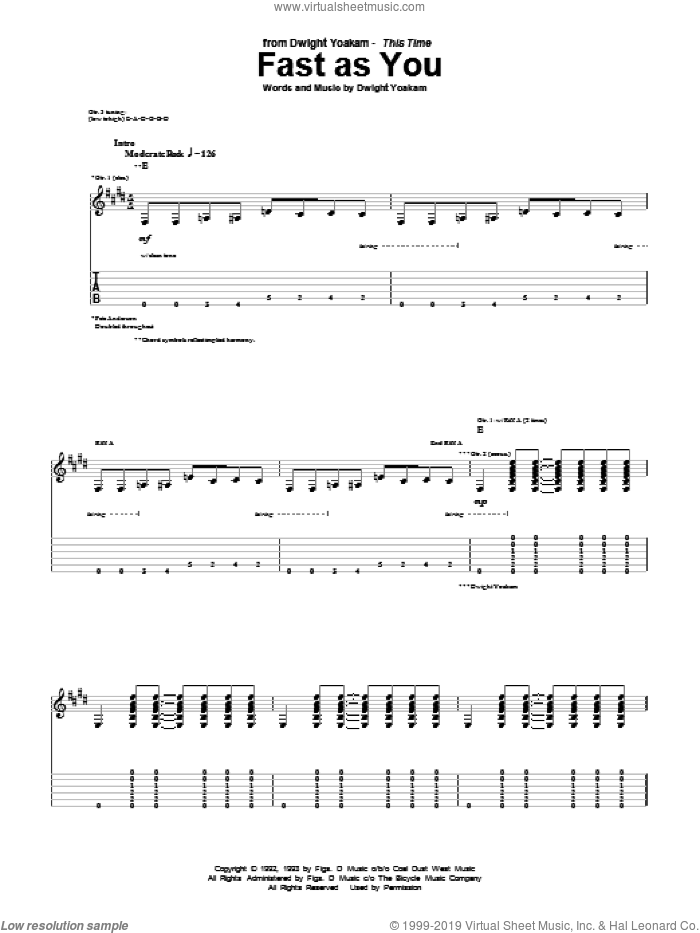 Fast As You sheet music for guitar (tablature) by Dwight Yoakam, intermediate skill level