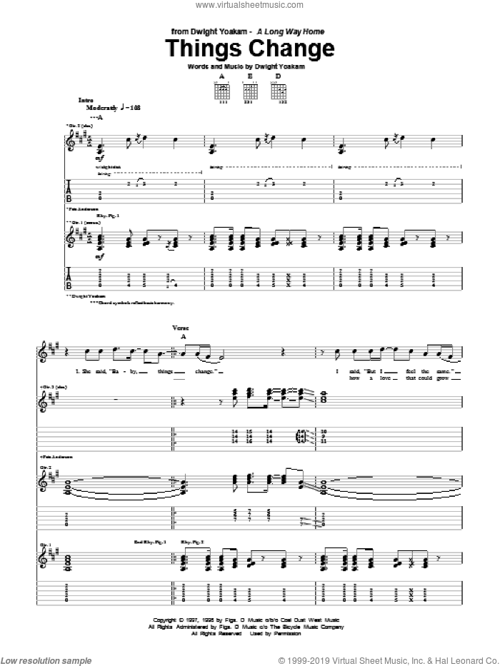 Things Change sheet music for guitar (tablature) by Dwight Yoakam. Score Image Preview.