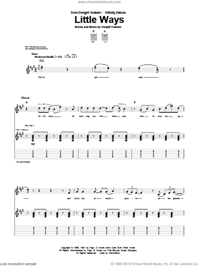 Little Ways sheet music for guitar (tablature) by Dwight Yoakam. Score Image Preview.