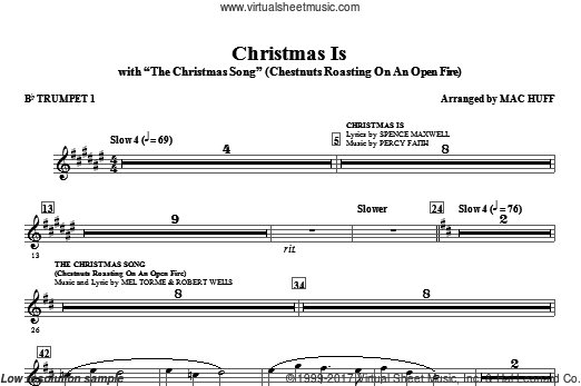 Christmas Is (with The Christmas Song, chestnuts roasting on an open fire (COMPLETE) sheet music for orchestra by Mac Huff
