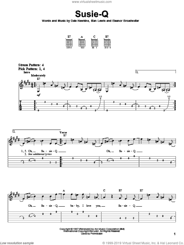Susie-Q sheet music for guitar solo (easy tablature) by Creedence Clearwater Revival, Dale Hawkins, Eleanor Broadwater and Stan Lewis, easy guitar (easy tablature)
