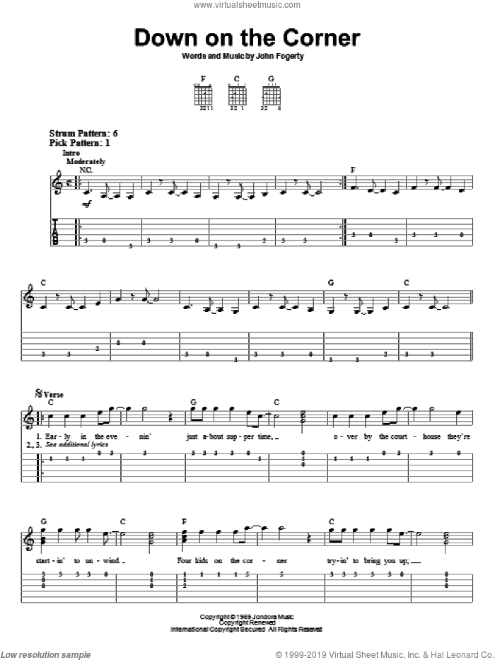 Down On The Corner sheet music for guitar solo (easy tablature) by Creedence Clearwater Revival and John Fogerty. Score Image Preview.