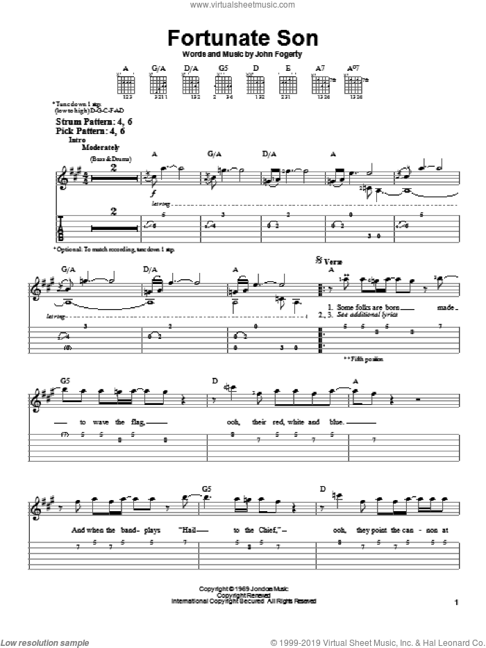 Fortunate Son sheet music for guitar solo (easy tablature) by Creedence Clearwater Revival and John Fogerty. Score Image Preview.