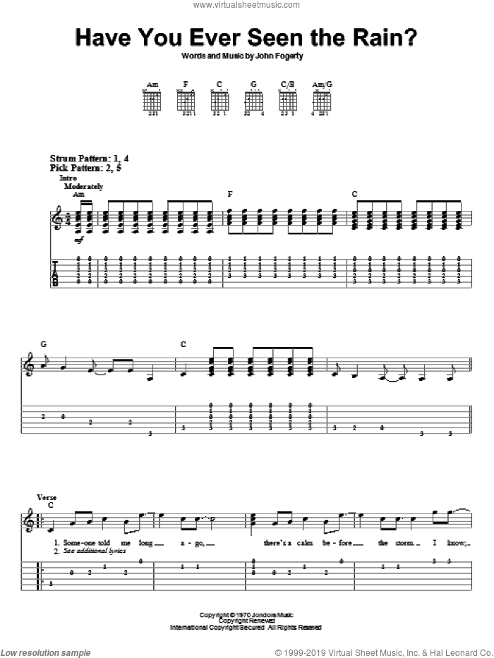 Have You Ever Seen The Rain? sheet music for guitar solo (easy tablature) by John Fogerty and Creedence Clearwater Revival. Score Image Preview.