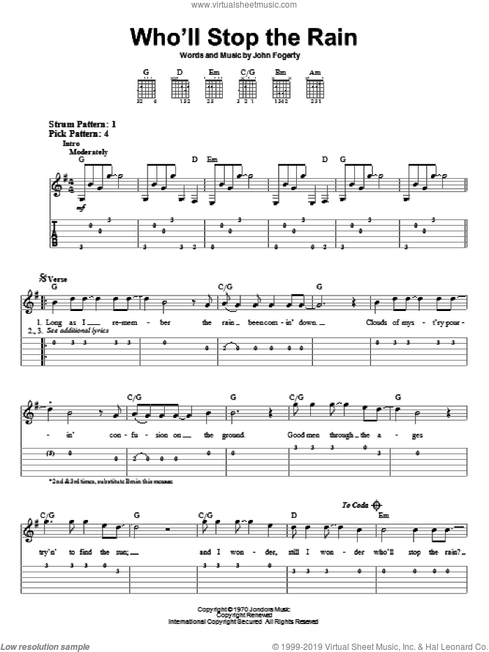 Who'll Stop The Rain sheet music for guitar solo (easy tablature) by Creedence Clearwater Revival and John Fogerty, easy guitar (easy tablature). Score Image Preview.