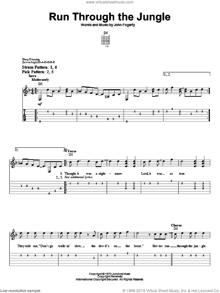 Run Through The Jungle sheet music for guitar solo (easy tablature) by John Fogerty and Creedence Clearwater Revival. Score Image Preview.