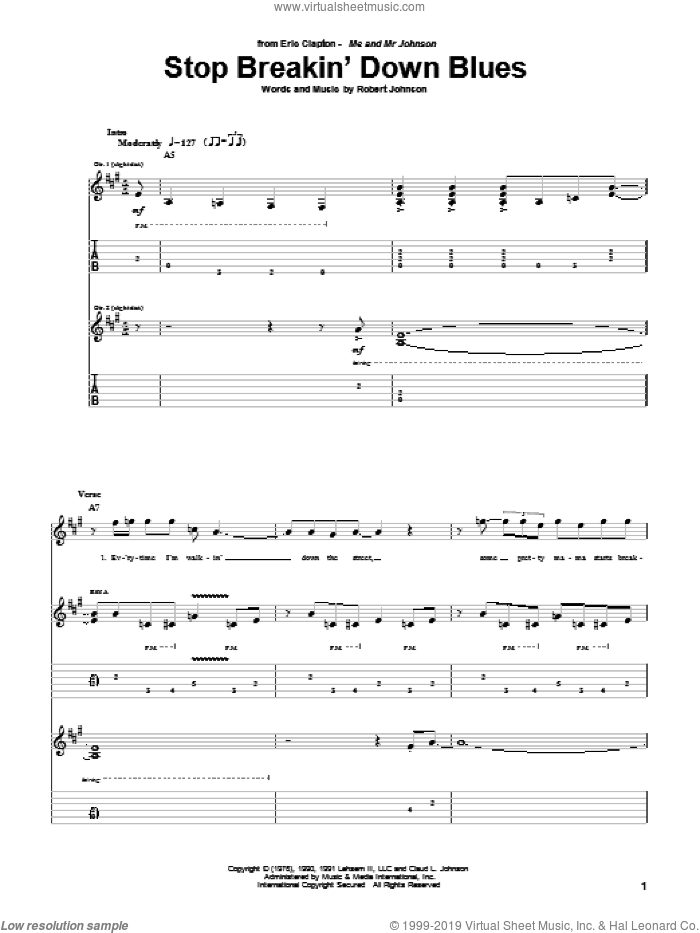 Stop Breakin' Down Blues sheet music for guitar (tablature) by Eric Clapton and Robert Johnson. Score Image Preview.