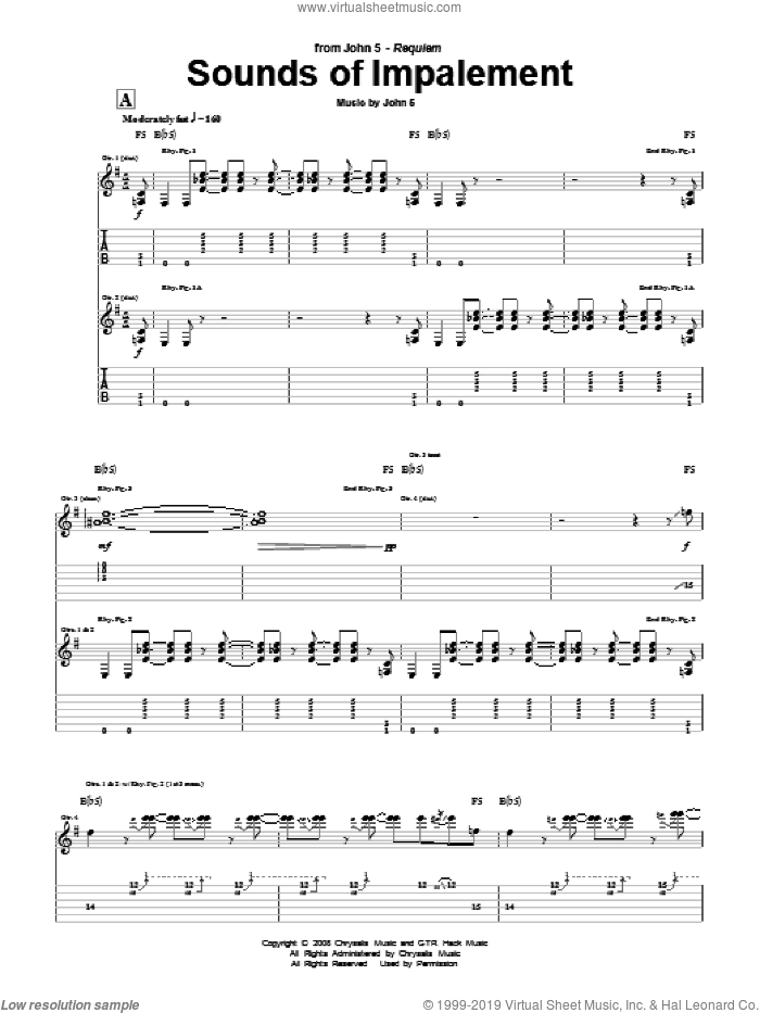Sounds Of Impalement sheet music for guitar (tablature) by John5. Score Image Preview.