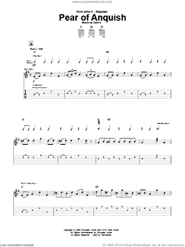 Pear Of Anquish sheet music for guitar (tablature) by John5. Score Image Preview.