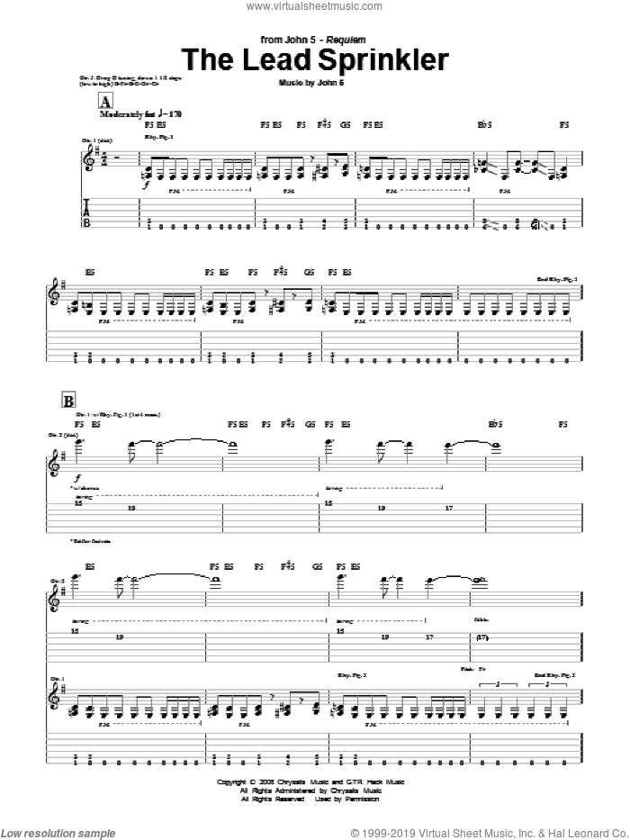 The Lead Sprinkler sheet music for guitar (tablature) by John5, intermediate guitar (tablature). Score Image Preview.