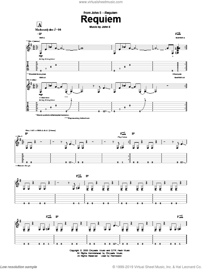 Requiem sheet music for guitar (tablature) by John5. Score Image Preview.