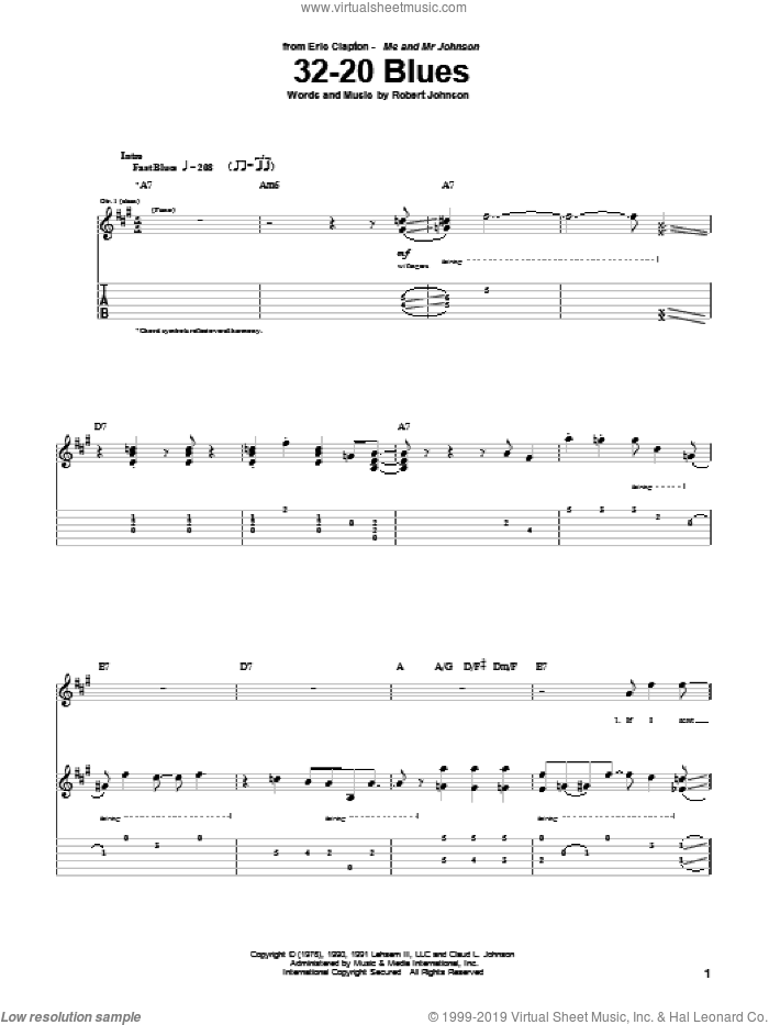 32-20 Blues sheet music for guitar (tablature) by Eric Clapton and Robert Johnson. Score Image Preview.