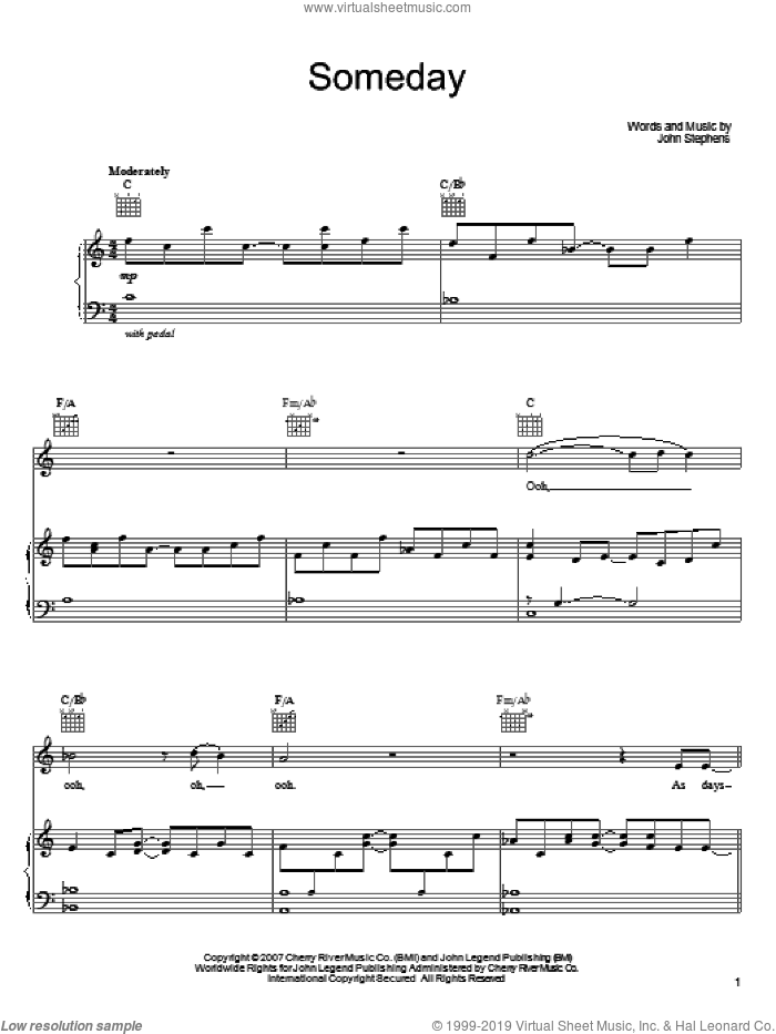 Someday sheet music for voice, piano or guitar by John Legend and John Stephens, intermediate skill level