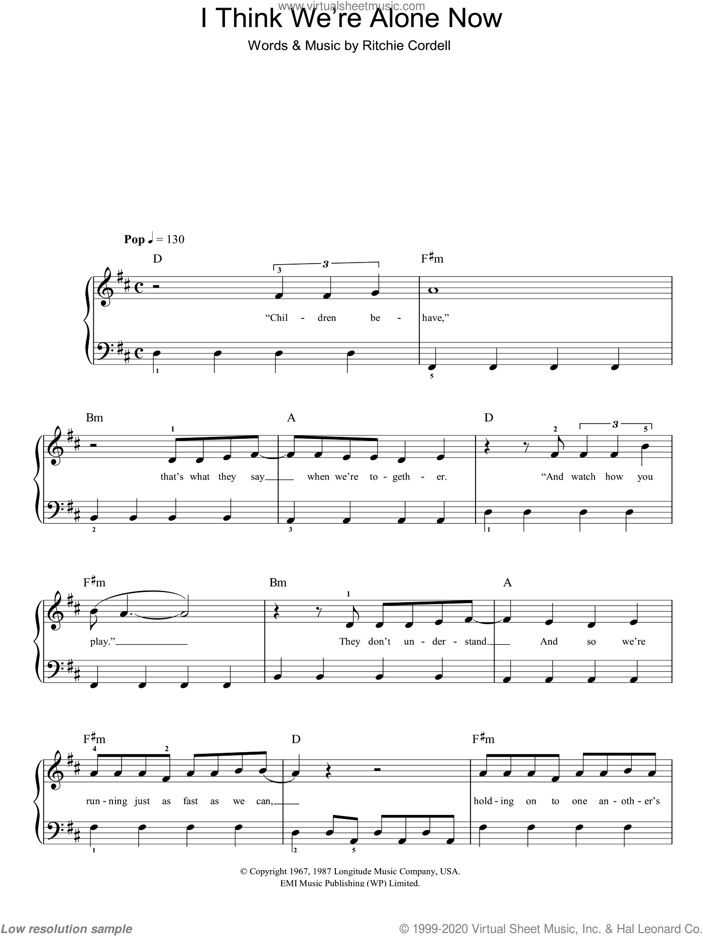 I Think We're Alone Now sheet music for piano solo (chords) by Ritchie Cordell