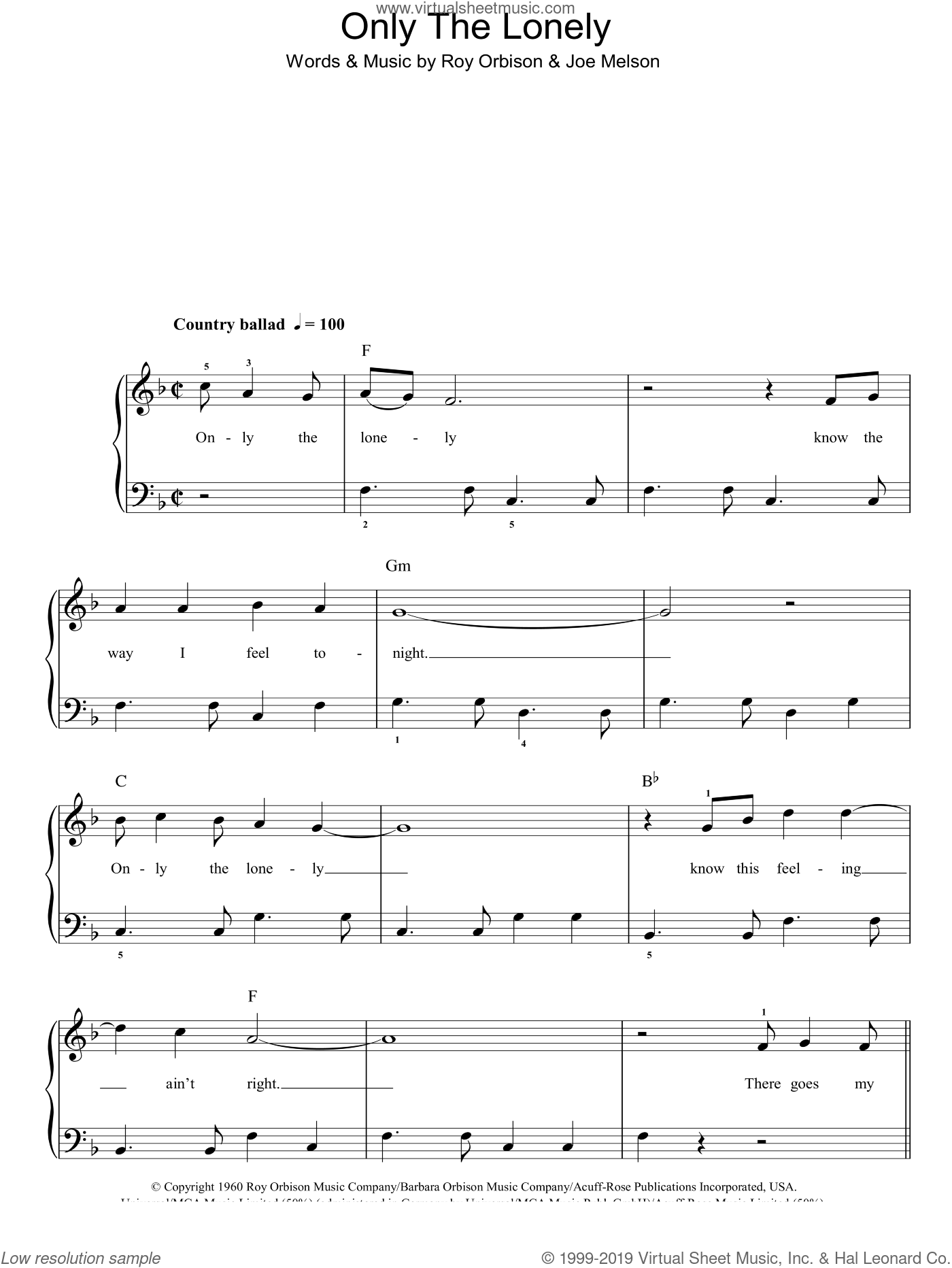 Only The Lonely sheet music for piano solo by Roy Orbison and Joe Melson, easy skill level