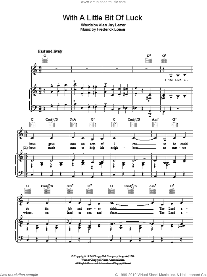 With A Little Bit Of Luck sheet music for voice, piano or guitar by Frederick Loewe