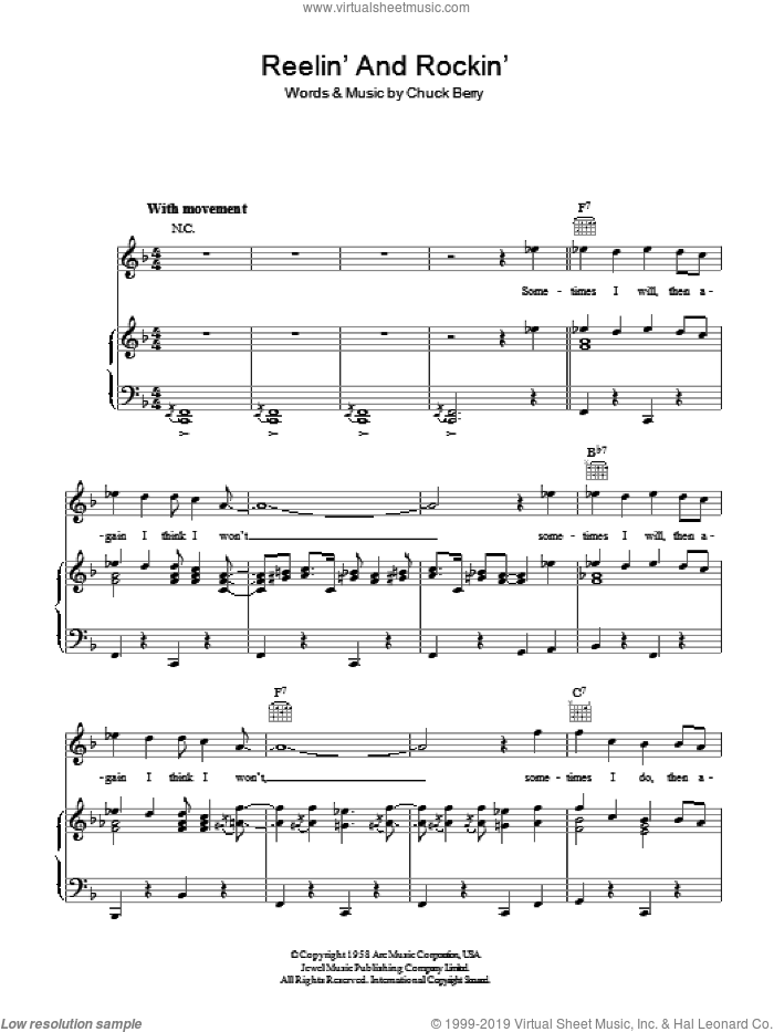 Reelin' And Rockin' sheet music for voice, piano or guitar by Chuck Berry. Score Image Preview.