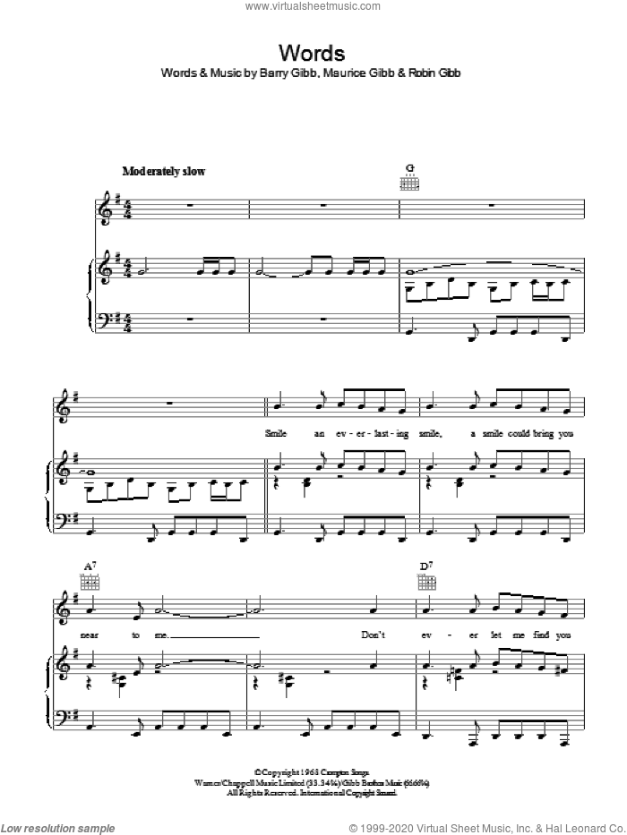 Words sheet music for voice, piano or guitar by Barry Gibb