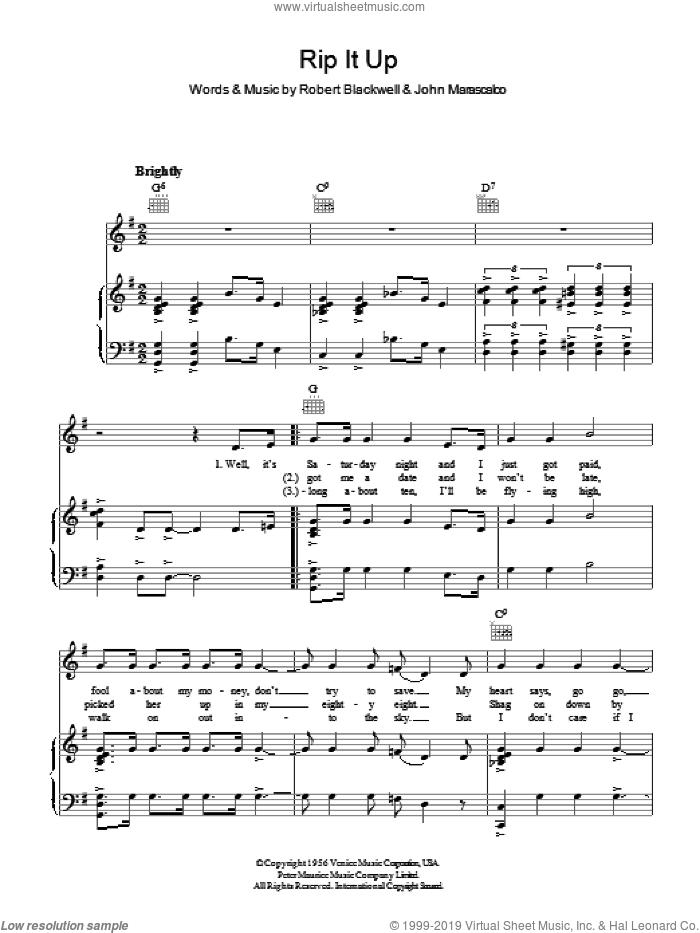 Rip It Up sheet music for voice, piano or guitar by Bill Haley, John Marascalco and Robert Blackwell, intermediate skill level