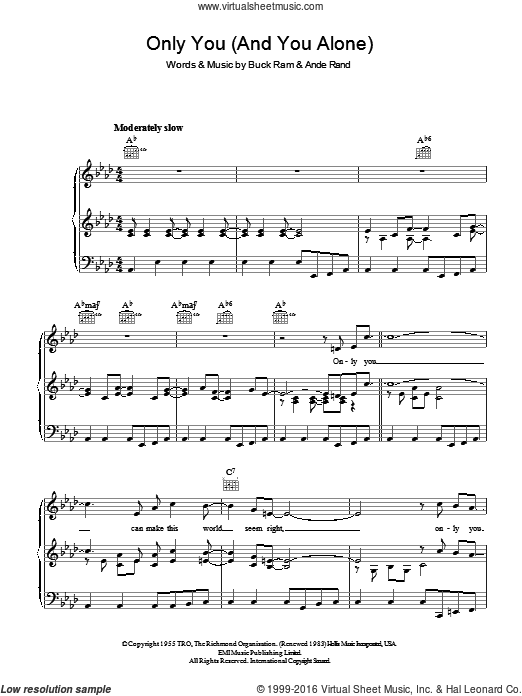 Only You (And You Alone) sheet music for voice, piano or guitar by Ande Rand