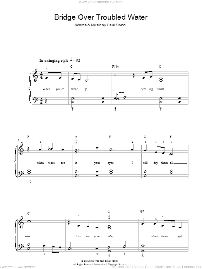 Bridge Over Troubled Water sheet music for piano solo (chords) by Simon & Garfunkel