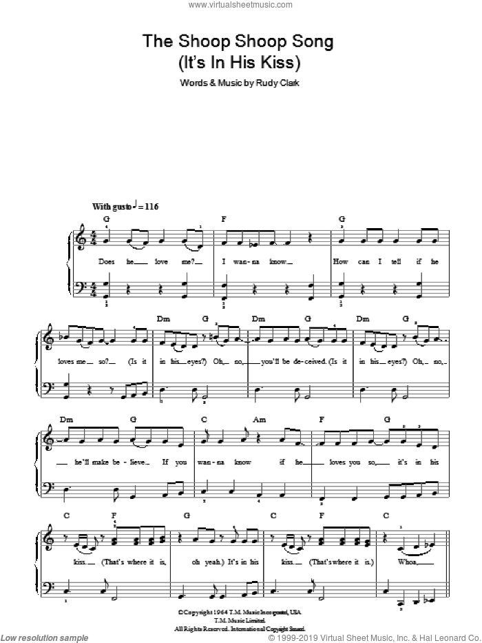 The Shoop Shoop Song (It's In His Kiss) sheet music for piano solo by Rudy Clark and Cher. Score Image Preview.